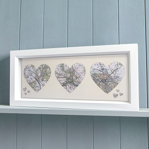 Trio of Personalised Framed Map Hearts