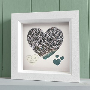 Framed Map Heart - Aerial photo